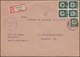 135 +141 Dienstmarken 6 Pf. Viererblock + 30 Pf. R-Brief Uni GREIFSWALD 22.8.42 - Officials