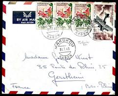 GABON 1963 - POUR GERSTHEIM (FRANCE) - TULIPIER - POSTE AÉRIENNE - - Gabón (1960-...)