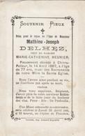 Mathieu Delhez Chinru Polleur Theux 1887  Doodsprentje Mortuaire - Religion & Esotericism