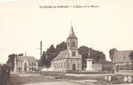 St Leger Les Domart  Eglise Et Mairie - Andere Gemeenten