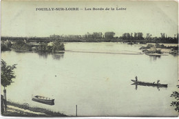 $ CARTE GLACEE $ 58 - POUILLY SUR LOIRE Les Bords De La écrite Timbrée - Pouilly Sur Loire