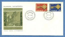 GREECE * 1968 * F.D.C. With Complete Set 2 Stamps * FINE* EUROPA - Mi.No 974-975 - Storia Postale