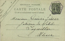 Entier Postal 15c + Beau Cachet Hexagonal KRAUTERGERSHEIM  Vers Ingwiller RV - Sonstige Gemeinden