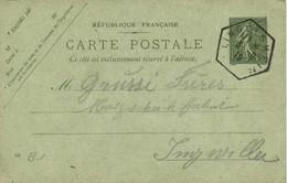 Entier Postal 15c + Beau Cachet Hexagonal LIBGOISHEIM SHEIM  Vers Ingwiller RV - Sonstige Gemeinden