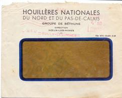 Omslag Enveloppe - Pub Reclame - Houillères Du Nord & Pas De Calais , Bully Les Mines - Stempel Cachet 1947 - Standard- Und TSC-Briefe (vor 1995)