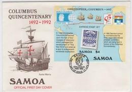 Samoa 1992 World Columbus Stamp Expo,souvenir Sheet First Day Cover - Samoa (Staat)