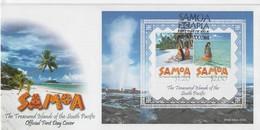 Samoa 2002 Scenic ,souvenir Sheet First Day Cover - Samoa (Staat)