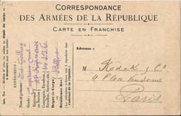 Carte Expédiée  Du  Régiment D ' Artillerie  De  BELFORT /  Demande  De  Catalogue  à  KODAK  à  PARIS - FM-Karten (Militärpost)