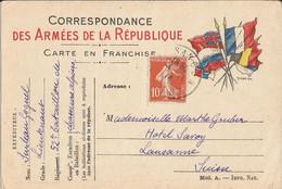 Carte Franchise Militaire  Expédiée  Du  52ème  Bataillon  De  Chasseurs  Alpins à L ' Hôtel Savoy à LAUSANNE ( Suisse ) - FM-Karten (Militärpost)