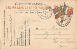 Carte Franchise Militaire  Expédiée  à  VIC-sur-AISNE  En 1916 /  Cachet  Trésor  Et  Postes  169 - FM-Karten (Militärpost)