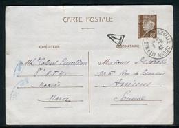 France - Entier Postal Type Pétain D'un Soldat à Meknès ( Maroc) En 1942 Pour Amiens Avec Cachet De Taxe   - Ref J 27 - Standard Postcards & Stamped On Demand (before 1995)