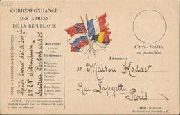 Carte Franchise Militaire  Drapeaux  Expédiée En 1916  à  La  Maison  KODAK  à  PARIS  Rue Lafayette - FM-Karten (Militärpost)
