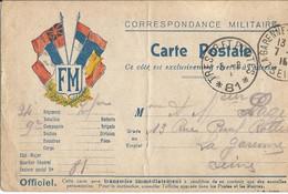 """Carte Franchise Militaire  Drapeau FM  Expédiée En 1915   à  LA GARENNE COLOMBES  /  Cachet  """" Trésor Et Postes 81 """" - FM-Karten (Militärpost)"""