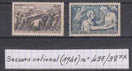 France Secours National:entraide D'hiver (1941) Y/T N° 497/498 Neufs ** à 10% De La Cote - Unused Stamps
