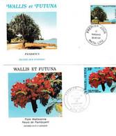 FDC , Wallis -et-Futuna , Lot De 2 , Thématique Flore,1983/86 - Covers & Documents