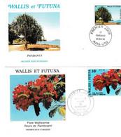 FDC , Wallis -et-Futuna , Lot De 2 , Thématique Flore,1983/86 - FDC
