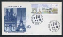 France - Vignette D'affranchissement Illustrée Du Salon Philatélique D'Automne En 2007 Sur Enveloppe FDC  - Ref J 60 - 1999-2009 Viñetas De Franqueo Illustradas