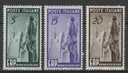 ITALY 1949, Mi# 774-776, CV €100, Ships, Sculpture, MH - 1946-60: Mint/hinged