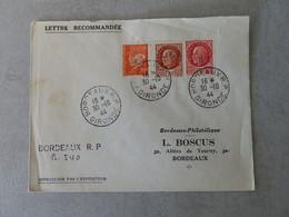 LETTRE RECOMMANDEE AVEC TIMBRES SURCHARGES R F DE BORDEAUX DU 30 OCTOBRE 1944 - 1921-1960: Période Moderne