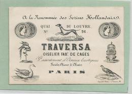 Cdv  A La Renommée Des Serins Hollandais Traversa Oiselier De Cages D'oiseaux Exotiques  N26 Quai Du Louvre Paris Empire - Visiting Cards