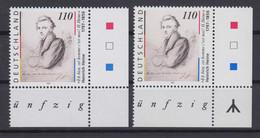 Bund 1962 Eckrand Rechts Unten Je Mit + Ohne Rune Heinrich Heine 110 Pf ** - Engraving Errors