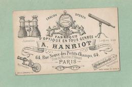 Cdv  Fabrique D'optique Hanriot 64 Rue Neuve Des Petits Champs  Paris Carte De Visite époque Empire - Visitekaartjes