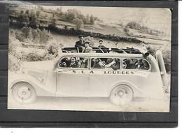 65-LOURDES-Carte-Photo De PELERINS Dans Un AUTOCAR De TOURISME En 1946 - Lourdes