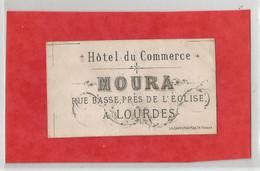 Cdv  Hotel Du Commerce Moura Rue Basse Près De L'église A Lourdes Carte De Visite époque Empire - Visiting Cards