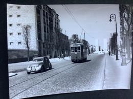 Photographie Originale De J.BAZIN Numérotée : Tramways De VERSAILLES :LE CHESNAY: Bd Du Roi   En 1954 - Trains