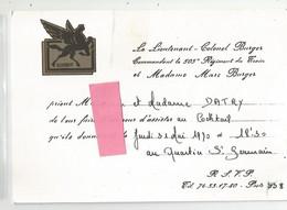 Cdv Militaria Du 505e Regiment Du Train Du Lieutenant Colonel Pour Cocktail Au Quartier St Germain 14,2x10 Cm - Visiting Cards