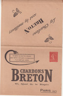 "FRANCE : ENTIER POSTAL .  40 Cts . SEMEUSE LIGNEE . CL . PRIVEE . TSC . "" CHARBON BRETON "" . TB . 1929 . - Letter Cards"