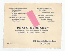 Cdv Pratx Bernard Président De L'amicale Artistique De Montchat 127 Cours Du Docteur Long Lyon 3e , Signature Au Dos - Visiting Cards