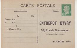 """FRANCE : ENTIER POSTAL .  10 Cts VERT  . TYPE PASTEUR . CP TSC . """" ENTREPOT D'IVRY  """" . DESSIN DE DAUMIER . TTB . 1923 . - Overprinter Postcards (before 1995)"""