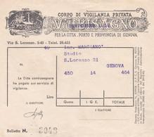 GENOVA - FATTURA - CORPO DI VIGILANZA PRIVARTA - VAL BISAGNO - PER LA CITTA' PORTO E PROVINCIA DI GENOVA - Italy