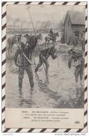 5AH371 EN BELGIQUE SOLDATS FRANCAIS A LA PECHE DANS LES PRAIRIES INONDEES 2  SCANS - Guerre 1914-18
