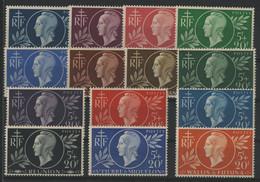1944 ENTRAIDE FRANCAISE Série Complète De 14 Valeurs Neuves * (MH) Cote 27,90 €, En Provenance De 14 Pays. TB - 1944 Entraide Française