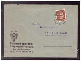 Dt- Reich (022071) Vorgedruckter Briefumschlag National- Sozialistische Kriegsopferverforgung, Gau Halle-Merseburg, Gel - Covers & Documents