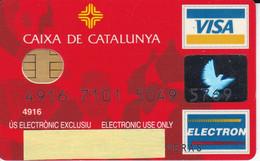 TARJETA DE BANCO DE LA CAIXA DE CATALUNYA - GAUDI (CREDITCARD-BANK-VISA) CHIP-PUCE - Non Classés