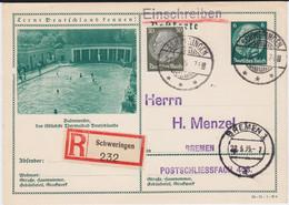 DR 3 Reich Ganzsache P 233 Bildpostkarte Badenweiler Stpl Schweringen RKte 1935 - Stamped Stationery