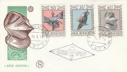 SAINT MARIN FDC 1974 SERIE CASQUES ET ARMURES - FDC