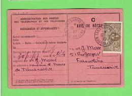 MADACASCAR 1937 AVIS DE RECEPTION D UN ENVOI POUR L EXPEDITEUR M. MOSSE POUR LE MAIRE DE TANANNARIVE - Brieven En Documenten