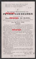 Oorlog Guerre Petrus VanDeuren Zele Gesneuveld Bombardement D'une Usine De Munitions Bousbecque Wervicq Sud 26 JUNI 1918 - Devotieprenten