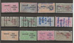 FISCAUX DE FRANCE  TAXE PISCICOLE 12 TIMBRES 1969 à 1974 - Fiscaux