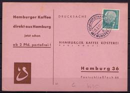 Bundesrepublik Karte Horstmar Bezirk Münster Nach Hamburg Kaffee 1957 (10194 - Sin Clasificación
