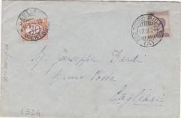 1924 Busta Fermo Posta Da Torino A Cagliari, Al Francobollo Manca Un Dentino. - Marcofilía