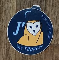 AUTOCOLLANT STICKER - J'AIME LES RAPACES - CHOUETTE - F.I.R. FONDS D'INTERVENTION POUR LES RAPACES - Stickers