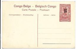 Congo Belge - Entier Postal 10 Centimes Surcharge 15 Centimes En Carte Postale. Nr. 55 - Stamped Stationery