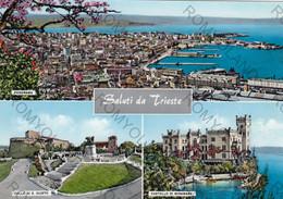 CARTOLINA  SALUTI DA TRIESTE,FRIULI GIULIA,SPIAGGIA,STORIA,CULTURA,VACANZA,LUNGOMARE,ESTATE,VIAGGIATA 1962 - Trieste