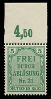 DEUTSCHES REICH DIENSTMARKEN 1903 05 Nr 3 Postfrisch OR X89C5B2 - Dienstzegels