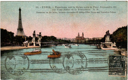 5MZ 74. PARIS - PANORAMA SUR LA SEINE VERS LE PONT ALEXANDRE III - Mehransichten, Panoramakarten
